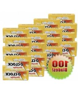 100 Gillete 7 O'Clock Yellow Sharp Edge Double Edge Safety R
