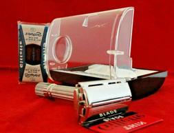 1961 NOS GILLETTE 195 Adjustable Fat Boy Razor Complete KIt,
