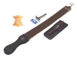 4pcs Brown Handle Folding Shaving Straight Razor & Leather S
