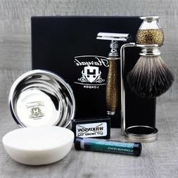 Haryali London 5 piece DE safety Razor Gift Set Feature Blac