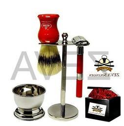 5 Pieces DE Safety Razor Men's Shaving Gift Kit / Set Red FR