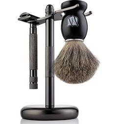 Miusco 100% Pure Badger Hair Shaving Safety Razor Brush and