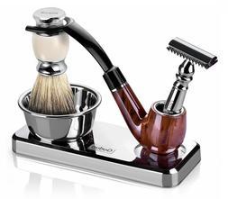 Barber De Blade Safety Razor Badger Shaving Brush and Bowl 3