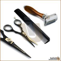 Barber Salon Set Hairdressing Scissor Hair Comb Shaving Safe
