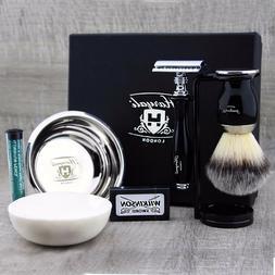 Black 5 Piece Shaving Set | DE Safety Razor & Synthetic Brus