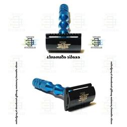 blue and black steel shaving safety razor