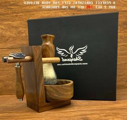 Brown 4 Piece Shaving Set | DE Safety razor & Badger  Brush