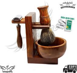 Shaving & Grooming Set |Safety Razor & Wood Handle Badger Br