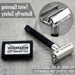 Butterfly Safety Razor & 5 Wilkinson Double Edge Blades Clas
