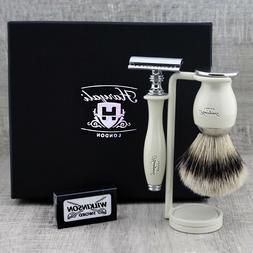 CLASSIC SHAVING KIT Silvertip Badger Brush & Safety Razor ME