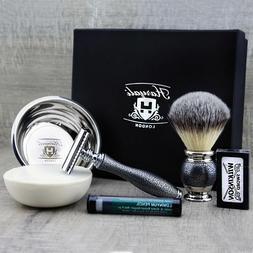 Complete Classic Shaving Set Synthetic Brush & DE Safety Raz