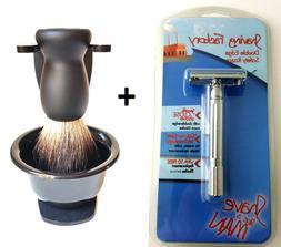 DE Safety Razor with Pure Black Badger Hair Shaving Brush St
