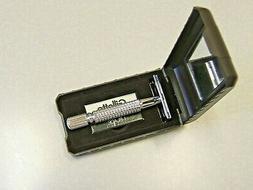 Double Edge DE Safety Razor in Case w Gillette Blade