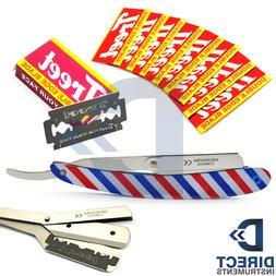 French Flag Cut Throat Straight Safety Hair Shaving Razor +1