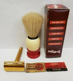 Gillette Gold Tone Safety Razor + Shaving Brush Berma-Shave