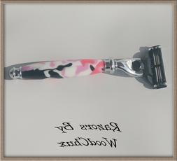Handmade Pink Camo D.E Safety Gillette Mach 3 Fusion Shaving