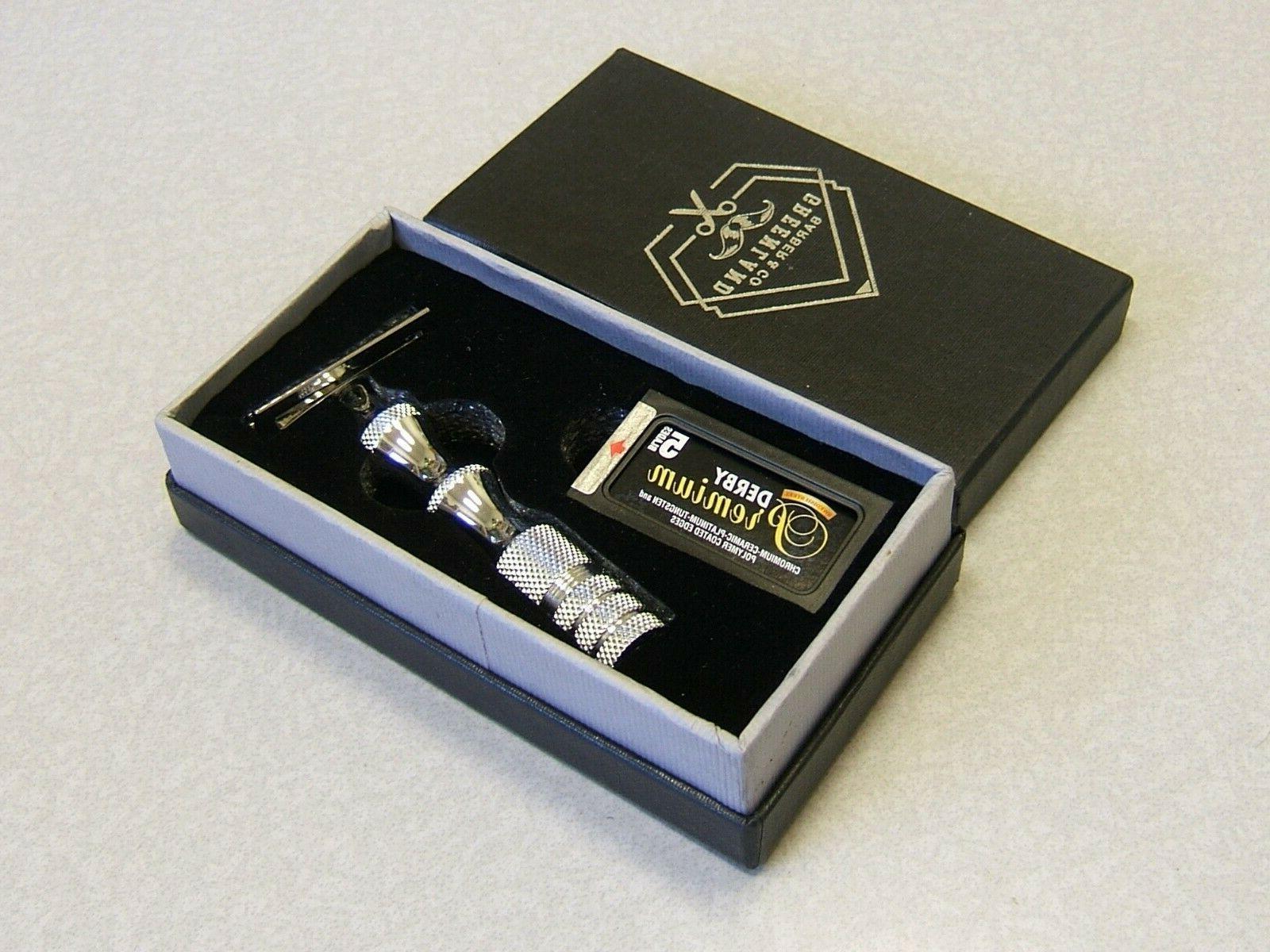 Double Edge Safety Razor Set GREENLAND BARBER w 5 Premium Bl