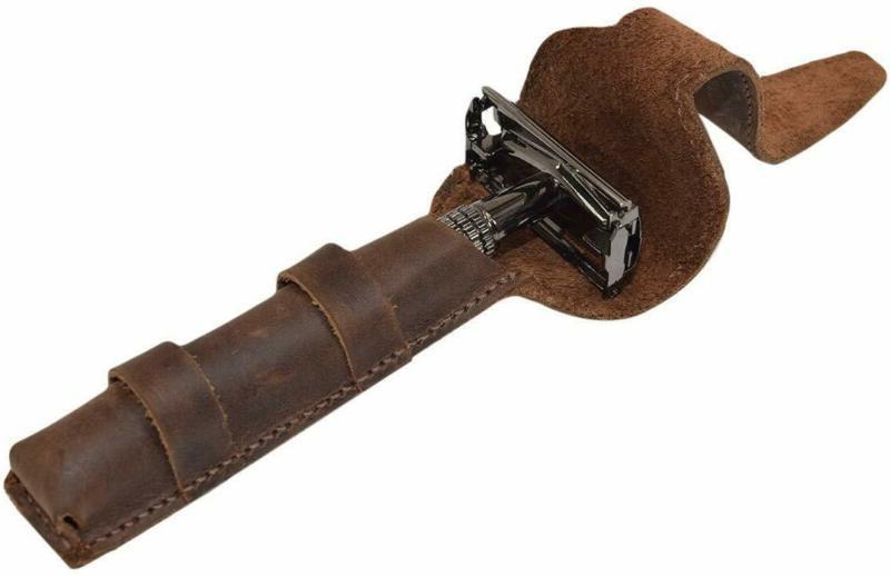 leather double edge safety razor protective case