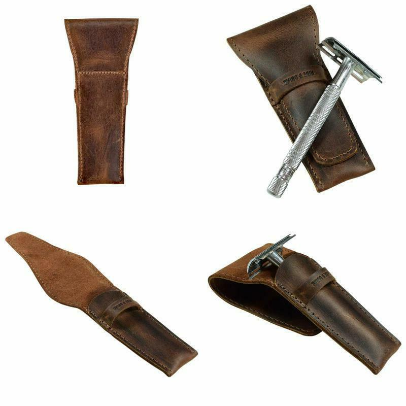 leather safety razor case shaving accessories