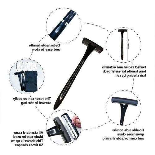 Mens Back Shaver Safety Razor Removal Shaving Handle Wet/Dry US