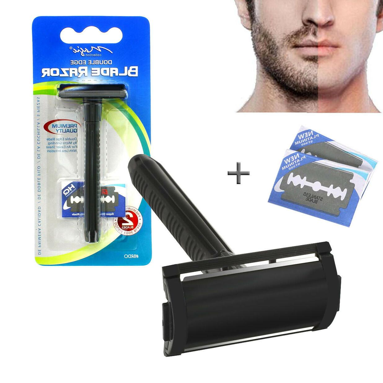mens traditional classic double edge plastic shaving