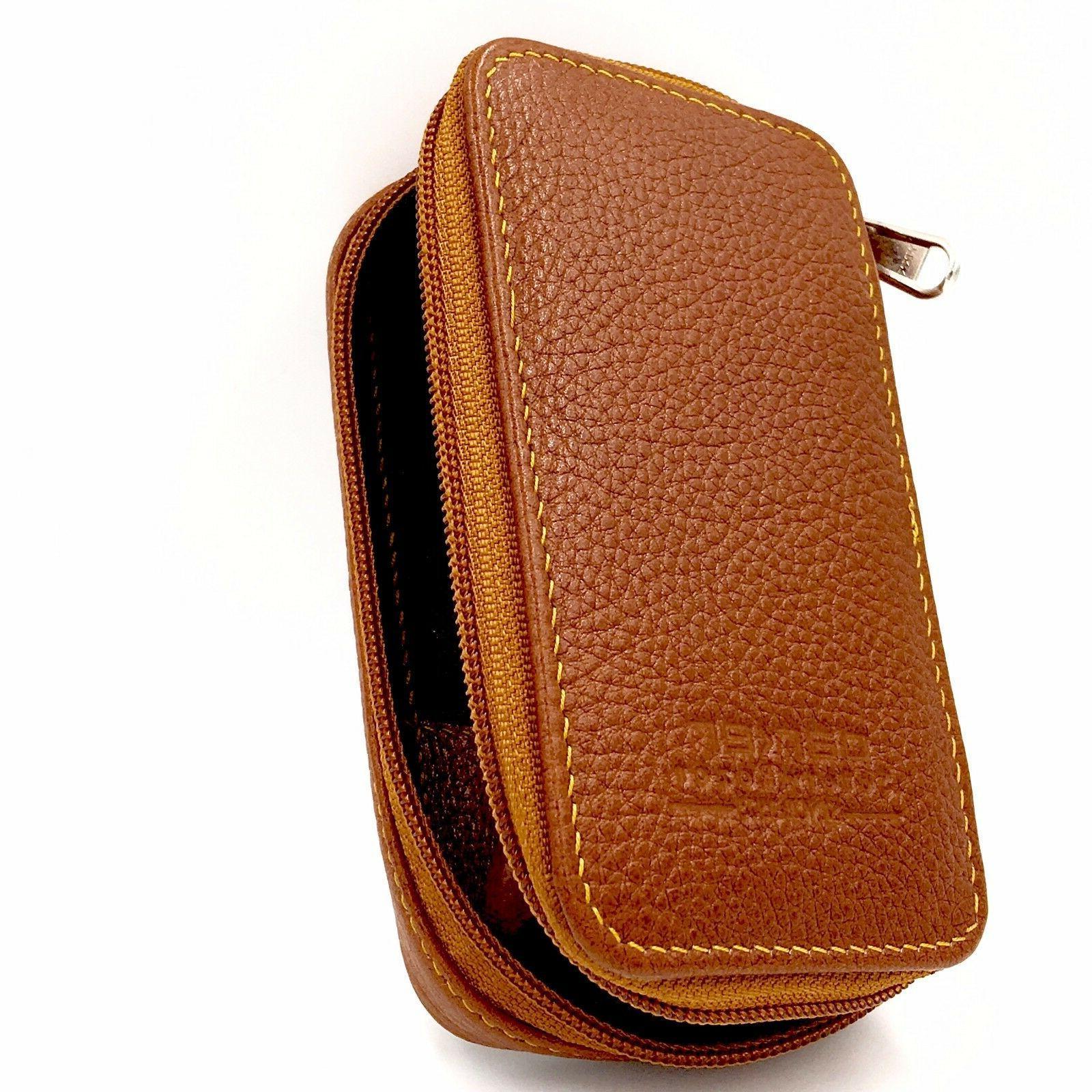 parker genuine leather zippered safety razor