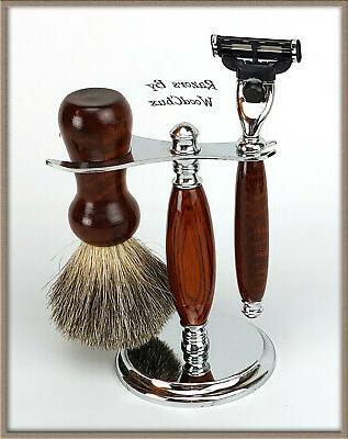 shaving razor set handmade rare snake wood