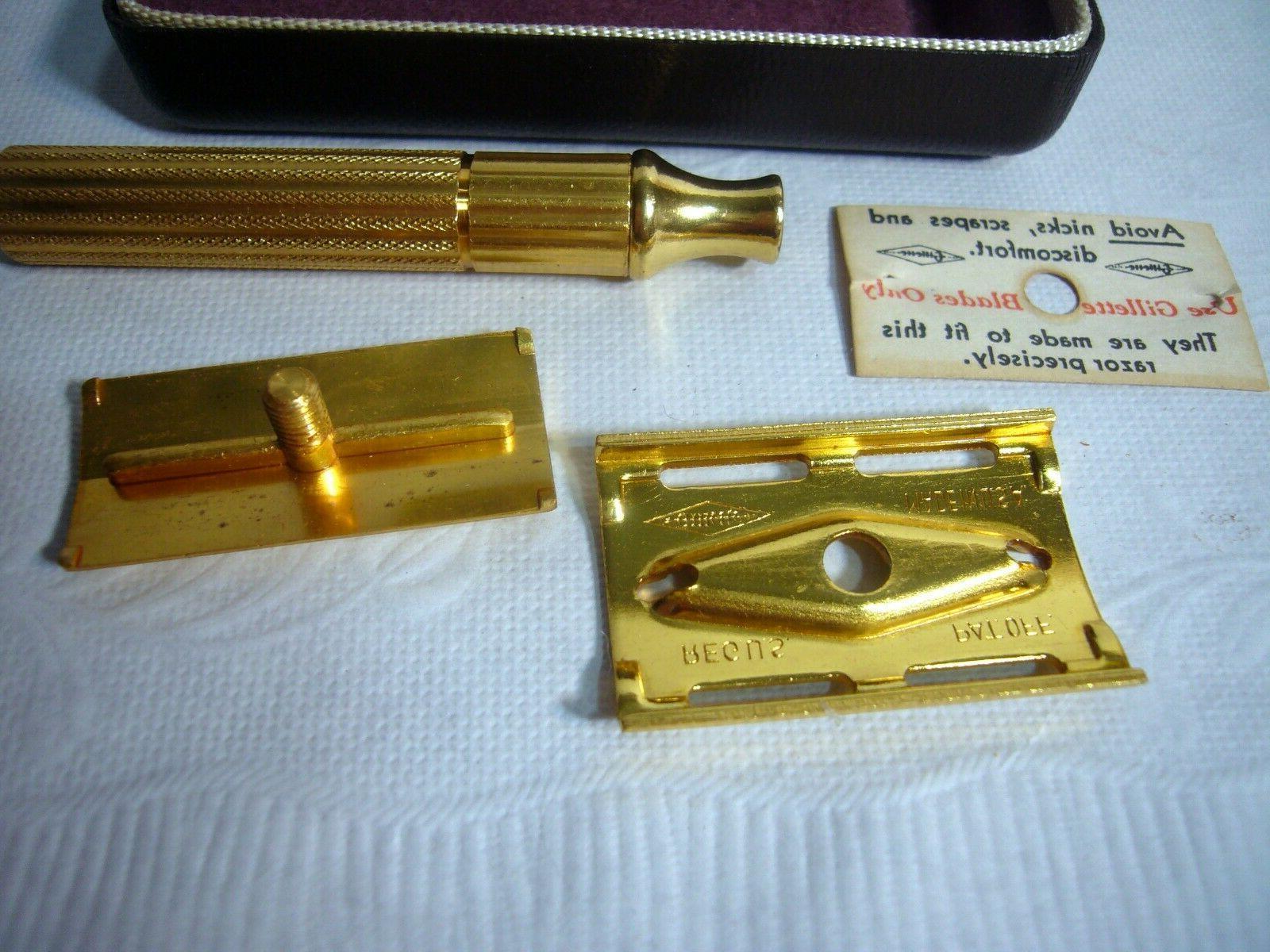 Vintage GILLETTE Gold Tech Razor Traveling Box Old NOS
