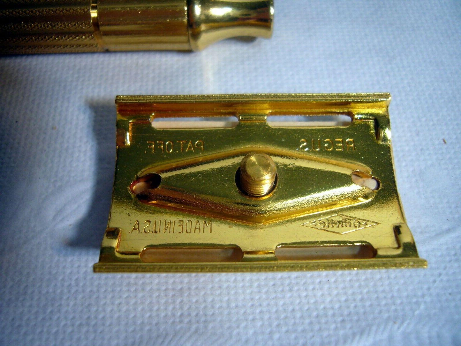 Vintage GILLETTE Gold Razor Traveling Original Box Blades New NOS