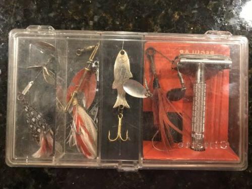 vintage safety razor and fishing lure set