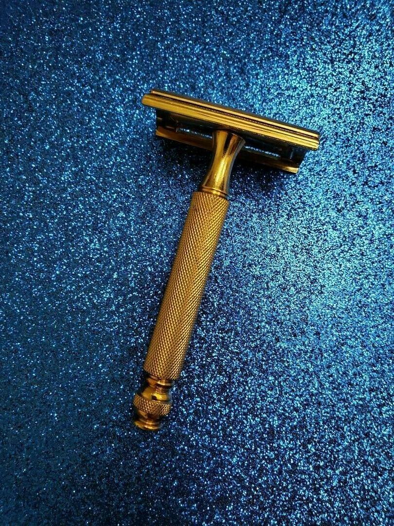 VTG 30s SAFETY RAZOR GOLD TRAVEL KIT CREAM