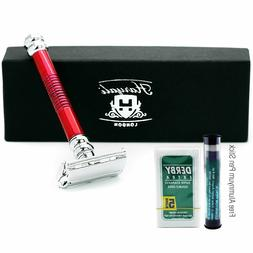 Long Handle Butterfly Double Edge Safety Razor & 5 blades Al