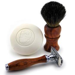 Wooden 3 PCS Shaving Kit with Black Badger Brush shaving Soa