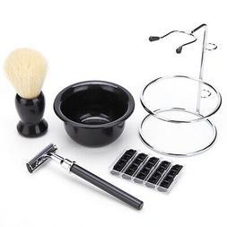 Men' s Shaving Grooming Kit Beard Wet Shave Set Brush Safety