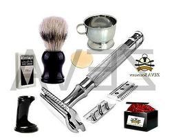 Men's Shaving Kit Set Heavy Duty Long Handled Safety Razor W