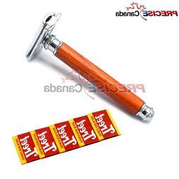 Men's Shaving Safety Razor Double Edge Adjustable Wooden Han