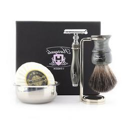 Men's Travel Starter Kit, Shaving Brush, Safety Razor, Wet S
