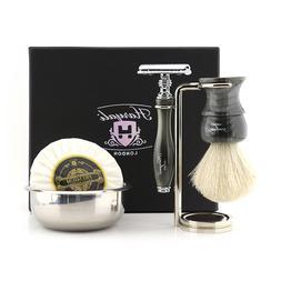 Mens Luxury Wet Shaver Kit, Best Badger Hair Brush with Safe