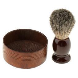 Mens Shaving Brush Soap Cream Cup Bowl Set Shave Safety Razo