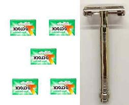 Metal Double Edge Butterfly Safety Razor + 25 Gillette Green
