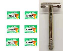 Metal Double Edge Butterfly Safety Razor + 30 Gillette Green
