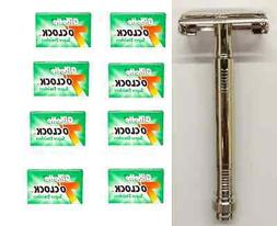Metal Double Edge Butterfly Safety Razor + 40 Gillette Green