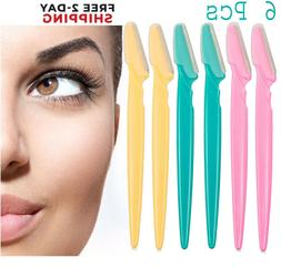 NEW 6pc Women Face & Eyebrow Hair Removal Safety Razor Trimm