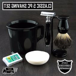 Old School Complete Shaving Kit with Brush Mug DE Safety Raz