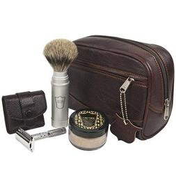 Parker TRAVEL Kit - Leather Dopp Bag, Travel PB Shave Brush,
