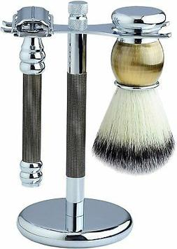 Pearl SRB-11GB Safety Razor, Brush, and Stand Set in Black a