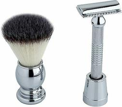 Pearl SRS-27501 Safety Razor, Brush, and Stand Set in Nickel