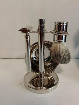 Bey Berk Safety Razor & Pure Badger Brush with Soap Dish on