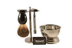 SharpK Shave Kit - Safety Razor, Brush, Shaving Stand, Bowl