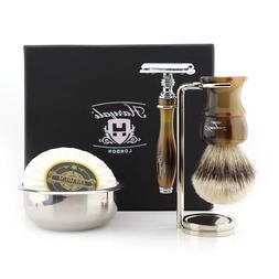 Shaving Kit with Silver Tip Badger Hair Brush + Soap Brush &